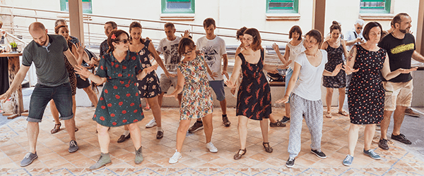 A group dancing in the Pation